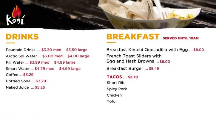 Universal Joint Menu >> LAX Menu - Kogi BBQ Taco Truck & Catering