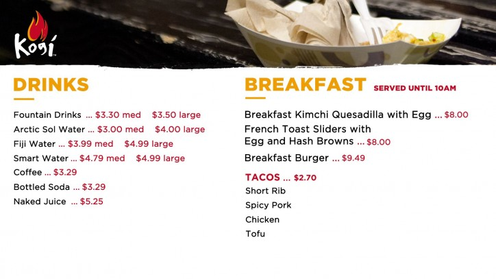 Kogi breakfast menu prices