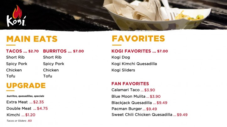 kogi menu prices